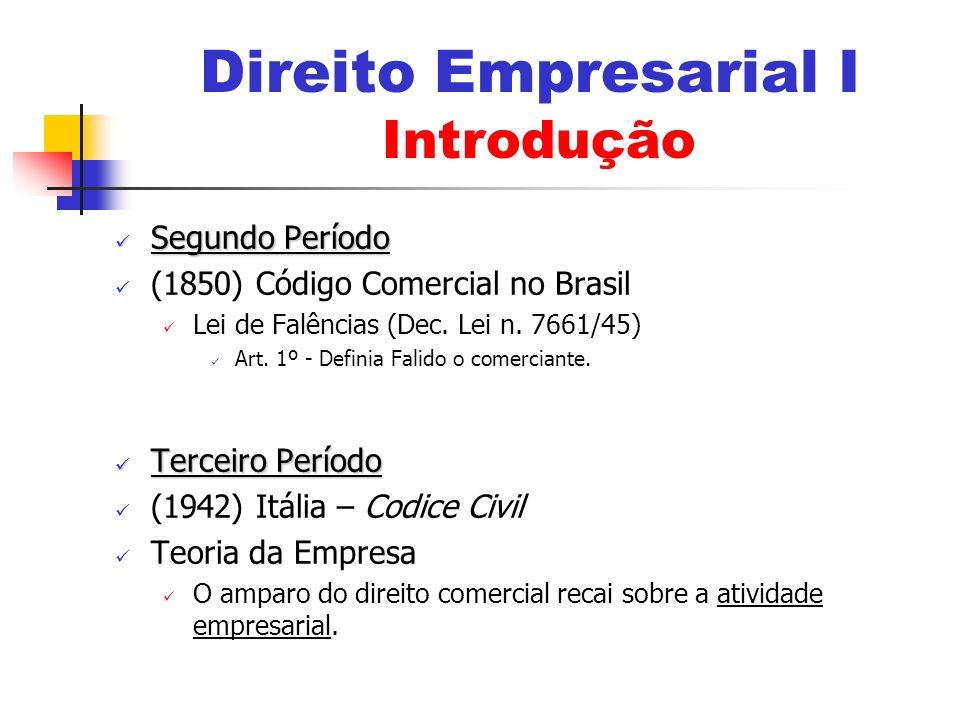 Segundo Período Segundo Período (1850) Código Comercial no Brasil Lei de Falências (Dec. Lei n. 7661/45) Art. 1º - Definia Falido o comerciante. Terce