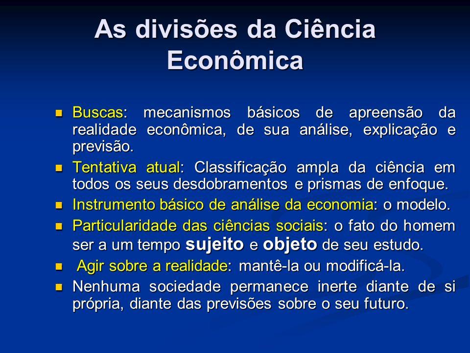 As divisões da Ciência Econômica Situação desfavorável alterá-la.
