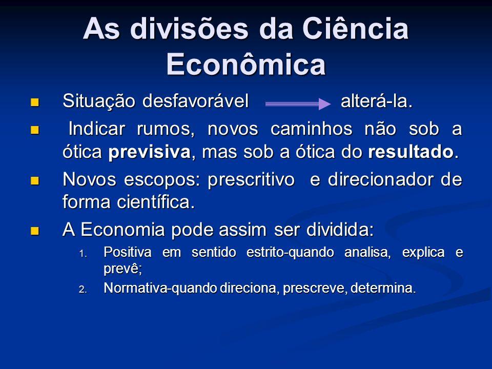 As divisões da Ciência Econômica ECONOMIA OU CIÊNCIA ECONÔMICA ECONOMIA POSITIVA TEORIA OU ANÁLISE ECONÔMICA ECONOMIA APLICADA ECONOMIA NORMATIVA DOUTRINA ECONÔMICA POLÍTICA ECONÔMICA