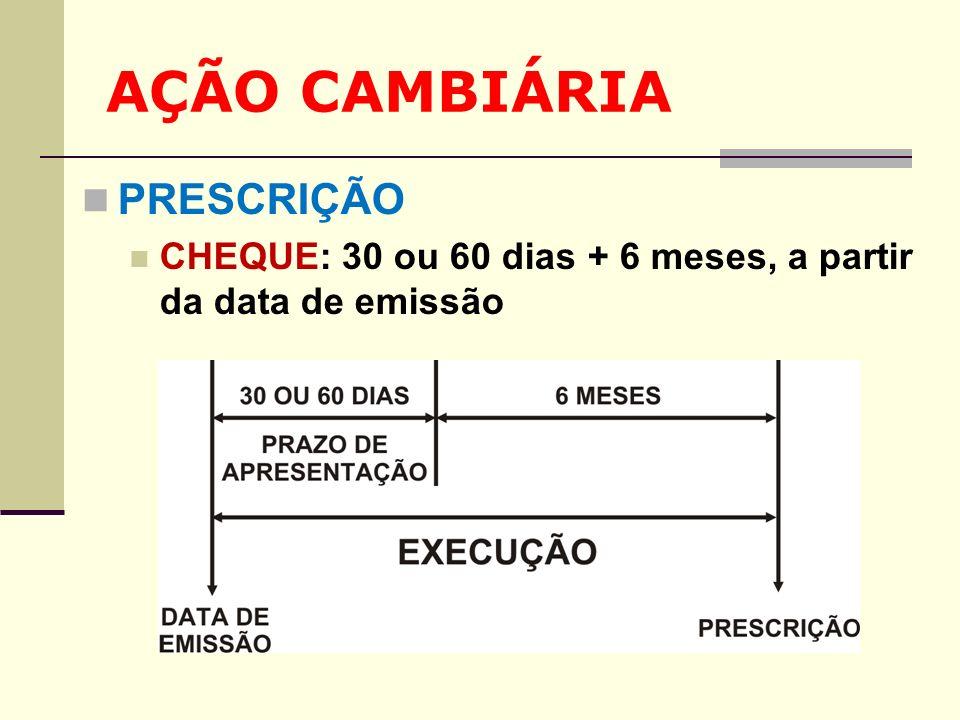 AÇÃO CAMBIÁRIA PRESCRIÇÃO CHEQUE: 30 ou 60 dias + 6 meses, a partir da data de emissão