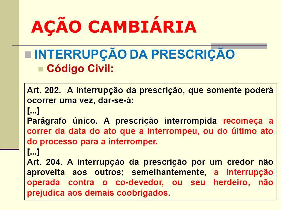 AÇÃO CAMBIÁRIA INTERRUPÇÃO DA PRESCRIÇÃO Código Civil: Art. 202. A interrupção da prescrição, que somente poderá ocorrer uma vez, dar-se-á: [...] Pará