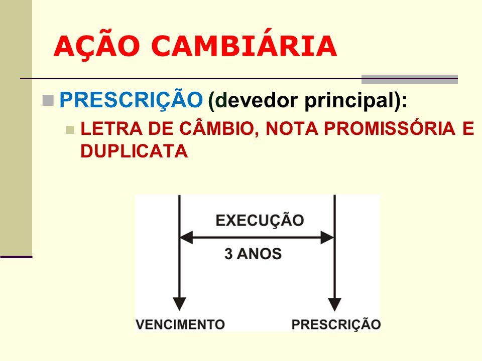 AÇÃO CAMBIÁRIA PRESCRIÇÃO (devedor principal): LETRA DE CÂMBIO, NOTA PROMISSÓRIA E DUPLICATA