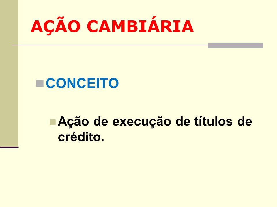 AÇÃO CAMBIÁRIA CONCEITO Ação de execução de títulos de crédito.