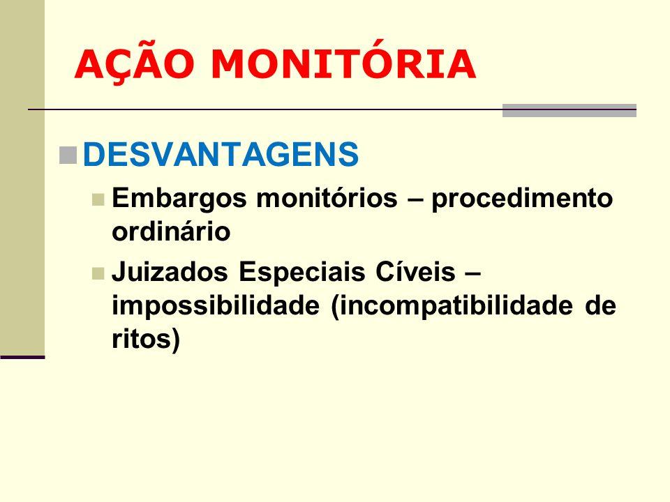 AÇÃO MONITÓRIA DESVANTAGENS Embargos monitórios – procedimento ordinário Juizados Especiais Cíveis – impossibilidade (incompatibilidade de ritos)