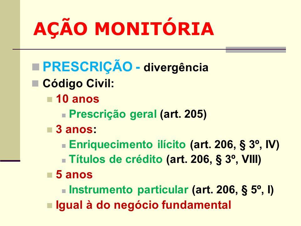 AÇÃO MONITÓRIA PRESCRIÇÃO - divergência Código Civil: 10 anos Prescrição geral (art. 205) 3 anos: Enriquecimento ilícito (art. 206, § 3º, IV) Títulos