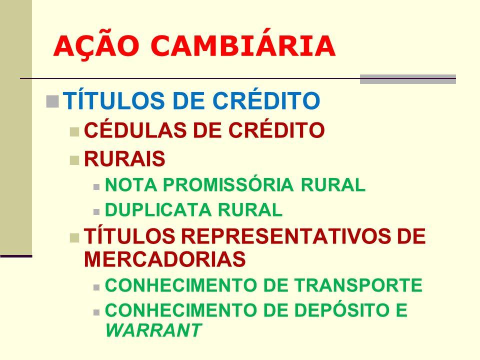 AÇÃO CAMBIÁRIA TÍTULOS DE CRÉDITO CÉDULAS DE CRÉDITO RURAIS NOTA PROMISSÓRIA RURAL DUPLICATA RURAL TÍTULOS REPRESENTATIVOS DE MERCADORIAS CONHECIMENTO