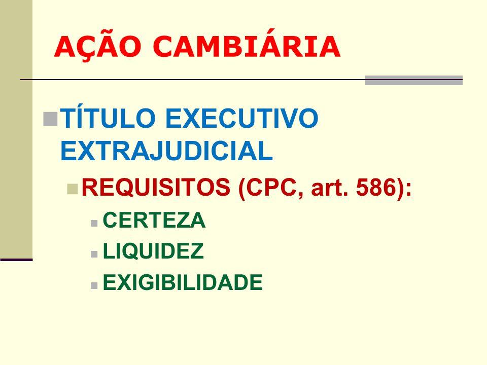 AÇÃO CAMBIÁRIA TÍTULO EXECUTIVO EXTRAJUDICIAL REQUISITOS (CPC, art. 586): CERTEZA LIQUIDEZ EXIGIBILIDADE