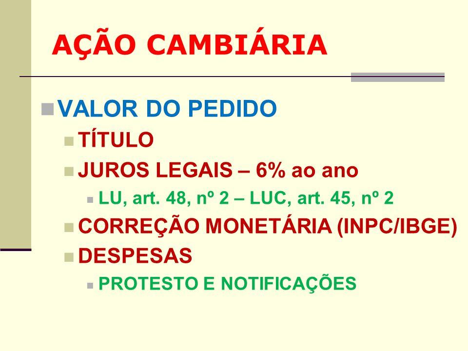 AÇÃO CAMBIÁRIA VALOR DO PEDIDO TÍTULO JUROS LEGAIS – 6% ao ano LU, art. 48, nº 2 – LUC, art. 45, nº 2 CORREÇÃO MONETÁRIA (INPC/IBGE) DESPESAS PROTESTO