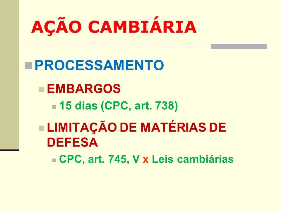 AÇÃO CAMBIÁRIA PROCESSAMENTO EMBARGOS 15 dias (CPC, art. 738) LIMITAÇÃO DE MATÉRIAS DE DEFESA CPC, art. 745, V x Leis cambiárias