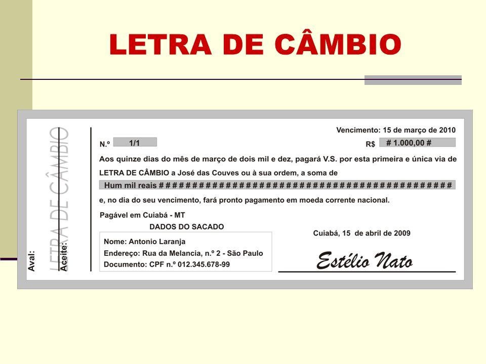 LETRA DE CÂMBIO
