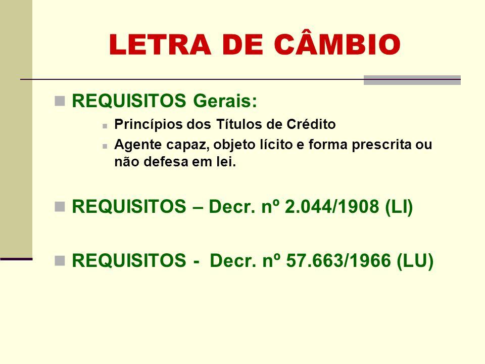 REQUISITOS Gerais: Princípios dos Títulos de Crédito Agente capaz, objeto lícito e forma prescrita ou não defesa em lei. REQUISITOS – Decr. nº 2.044/1