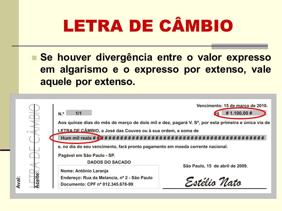 LETRA DE CÂMBIO REQUISITOS Anexo I do Decr.