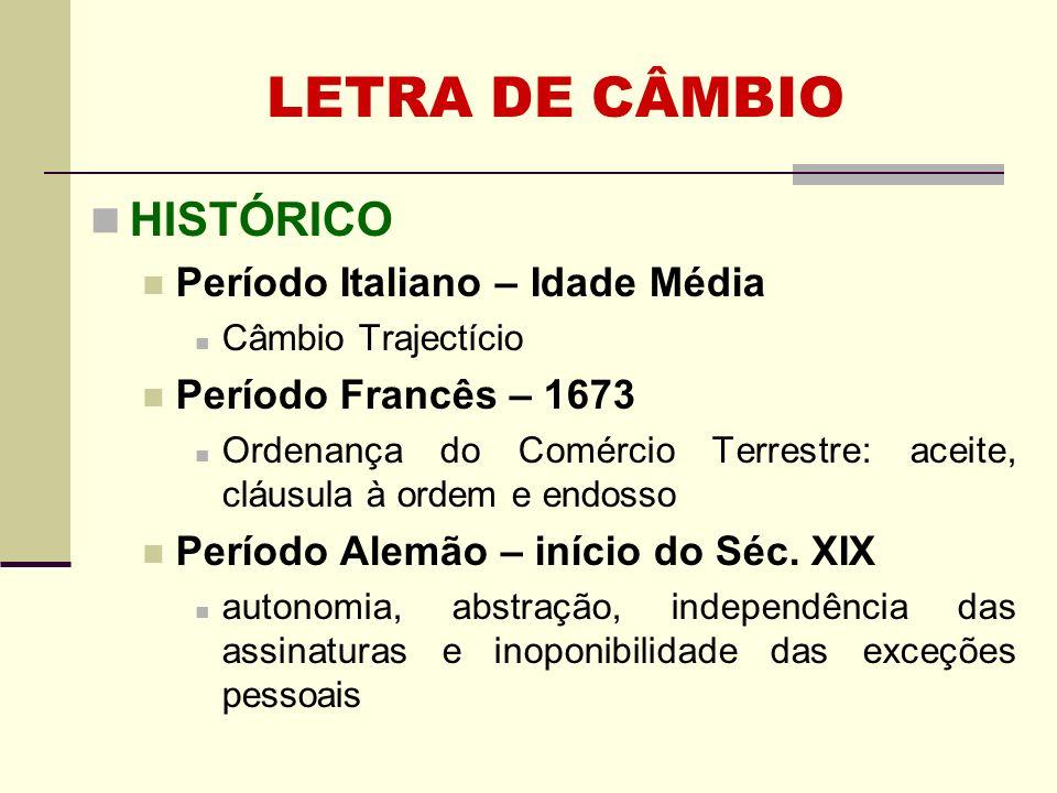 LETRA DE CÂMBIO HISTÓRICO Período Italiano – Idade Média Câmbio Trajectício Período Francês – 1673 Ordenança do Comércio Terrestre: aceite, cláusula à