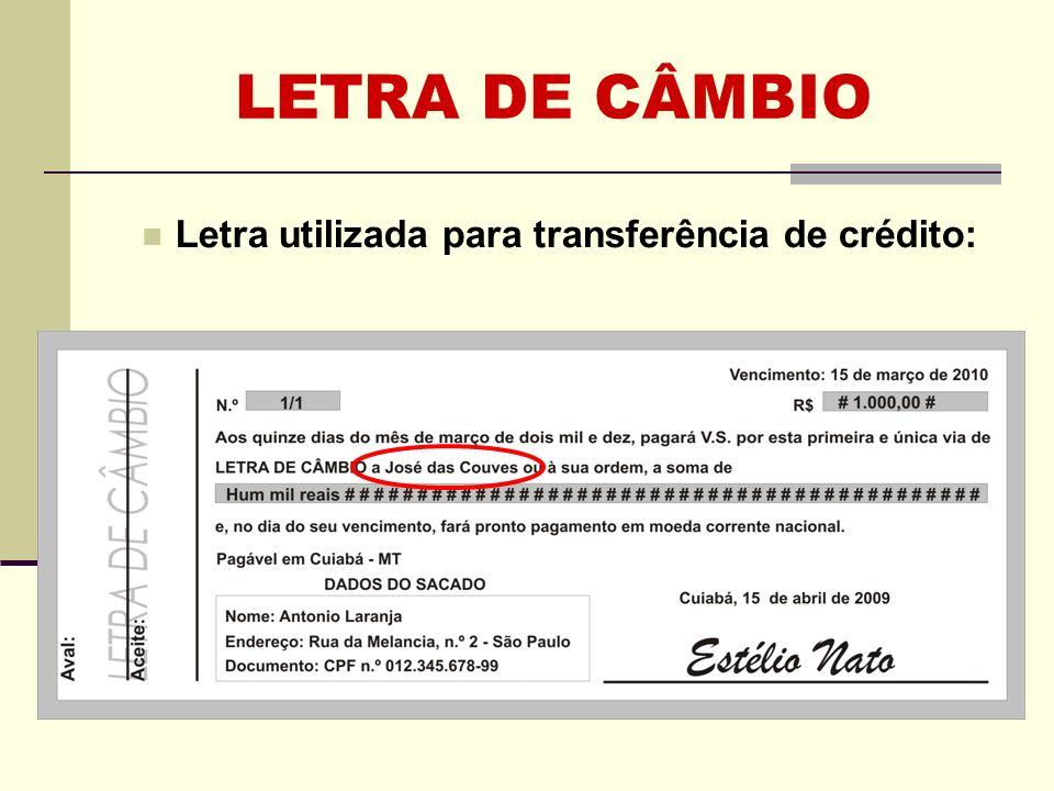 LETRA DE CÂMBIO REQUISITOS (LI) A letra pode ser utilizada para cobrança de créditos.