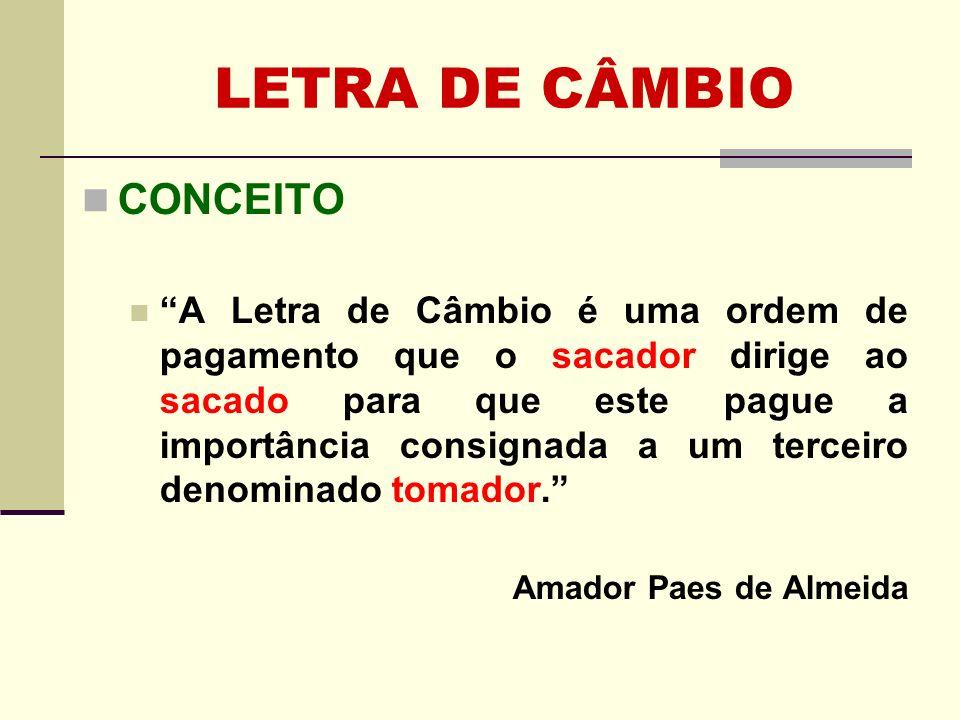 LETRA DE CÂMBIO CONCEITO A Letra de Câmbio é uma ordem de pagamento que o sacador dirige ao sacado para que este pague a importância consignada a um t