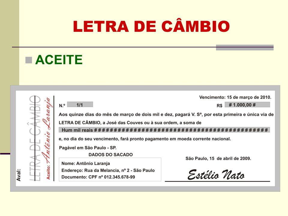 LETRA DE CÂMBIO ACEITE