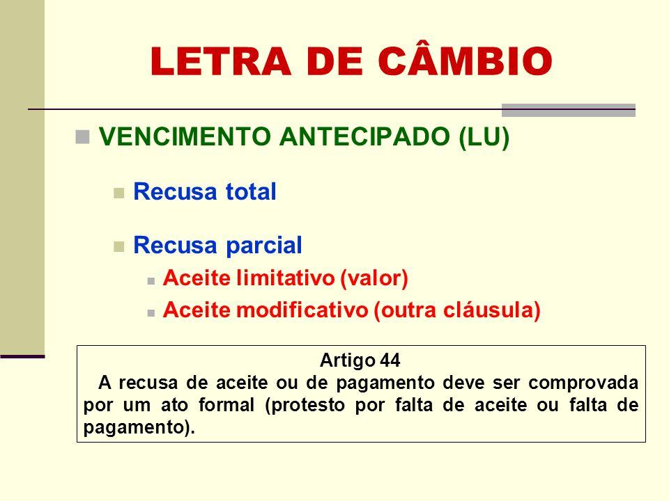 LETRA DE CÂMBIO VENCIMENTO ANTECIPADO (LU) Recusa total Recusa parcial Aceite limitativo (valor) Aceite modificativo (outra cláusula) Artigo 44 A recu