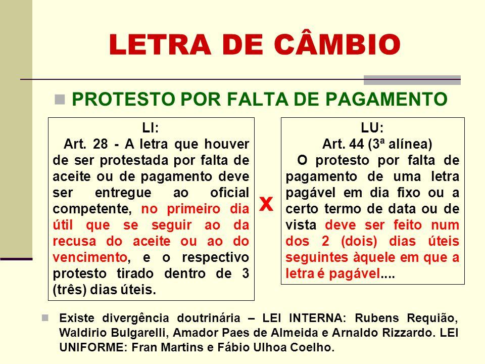 LETRA DE CÂMBIO PROTESTO POR FALTA DE PAGAMENTO x Existe divergência doutrinária – LEI INTERNA: Rubens Requião, Waldirio Bulgarelli, Amador Paes de Al