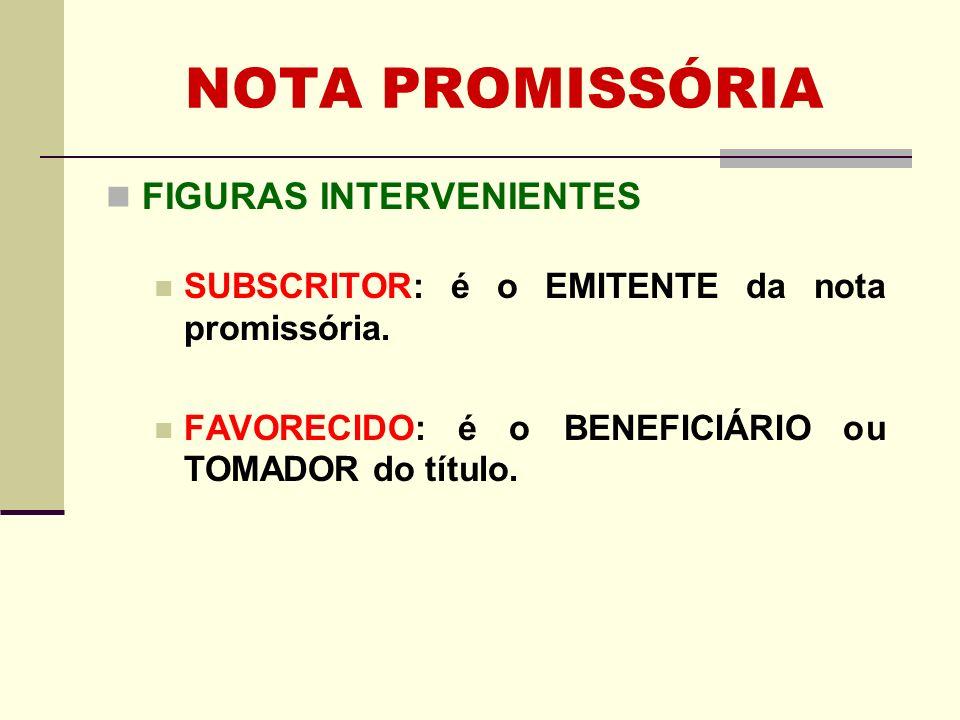 NOTA PROMISSÓRIA LEGISLAÇÃO Decreto 2.044/1908 – Lei Interna (LI) ou Lei Saraiva Artigos 54 a 56 Art.
