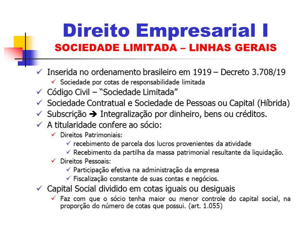 Inserida no ordenamento brasileiro em 1919 – Decreto 3.708/19 Inserida no ordenamento brasileiro em 1919 – Decreto 3.708/19 Sociedade por cotas de res