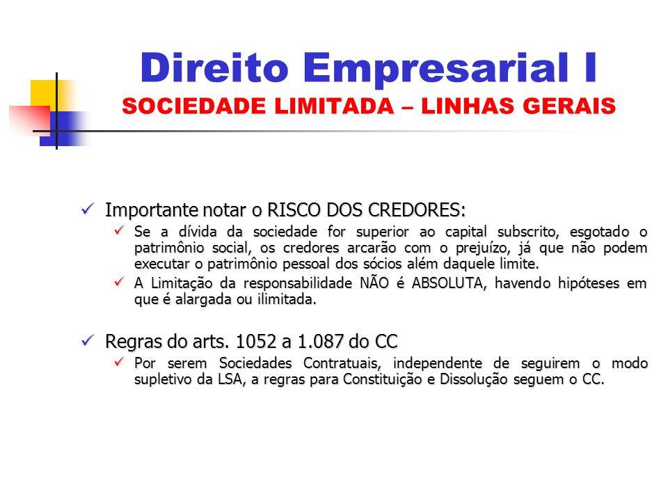 Importante notar o RISCO DOS CREDORES: Importante notar o RISCO DOS CREDORES: Se a dívida da sociedade for superior ao capital subscrito, esgotado o p