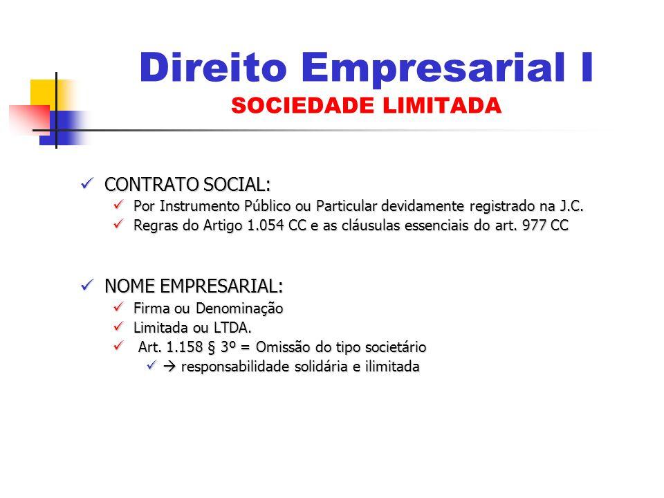 CONTRATO SOCIAL: CONTRATO SOCIAL: Por Instrumento Público ou Particular devidamente registrado na J.C. Por Instrumento Público ou Particular devidamen