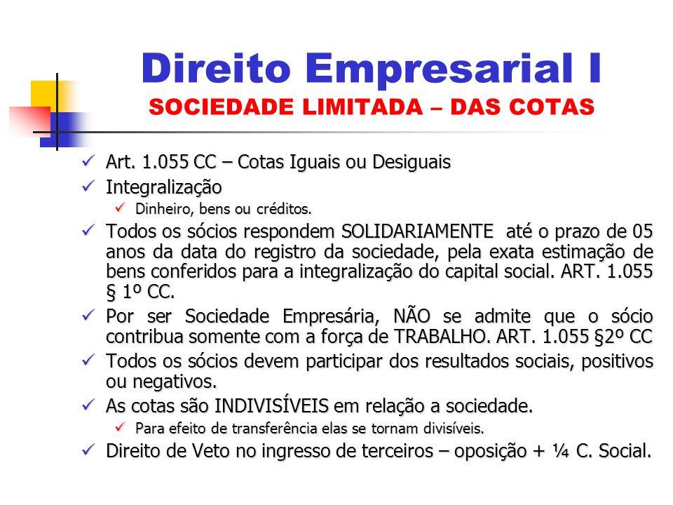 Art. 1.055 CC – Cotas Iguais ou Desiguais Art. 1.055 CC – Cotas Iguais ou Desiguais Integralização Integralização Dinheiro, bens ou créditos. Dinheiro