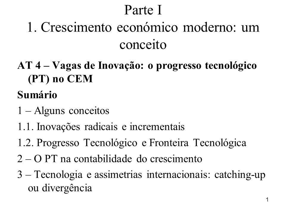 2 CONCEITOS Tipologia do Progresso Tecnológico Inovação Radical ou inovção-chave (cachos de inovações) -Novo sistema tecnológico que altera o funcionamento da economia e da sociedade.