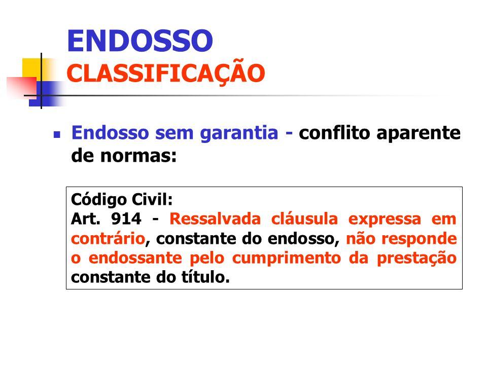 Endosso sem garantia - conflito aparente de normas: Código Civil: Art. 914 - Ressalvada cláusula expressa em contrário, constante do endosso, não resp