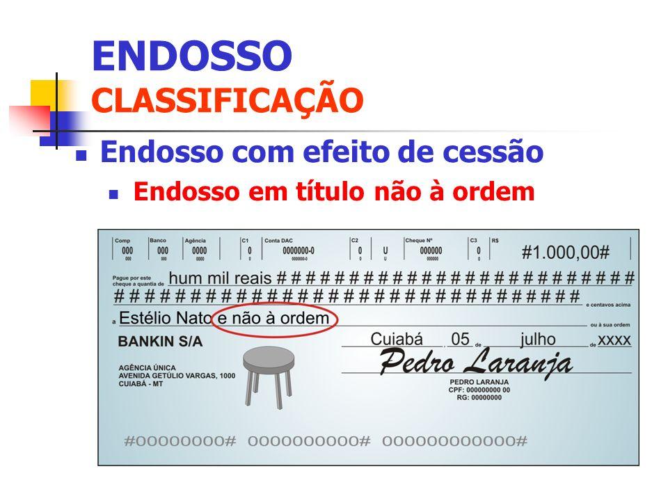 Endosso com efeito de cessão Endosso em título não à ordem ENDOSSO CLASSIFICAÇÃO