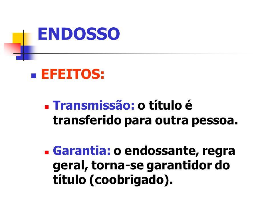 ENDOSSO EFEITOS: Transmissão: o título é transferido para outra pessoa. Garantia: o endossante, regra geral, torna-se garantidor do título (coobrigado
