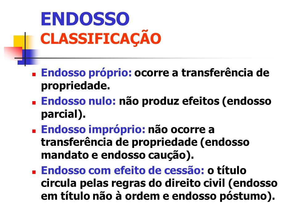 ENDOSSO CLASSIFICAÇÃO Endosso próprio: ocorre a transferência de propriedade. Endosso nulo: não produz efeitos (endosso parcial). Endosso impróprio: n