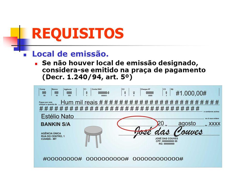 REQUISITOS Local de emissão. Se não houver local de emissão designado, considera-se emitido na praça de pagamento (Decr. 1.240/94, art. 5º)