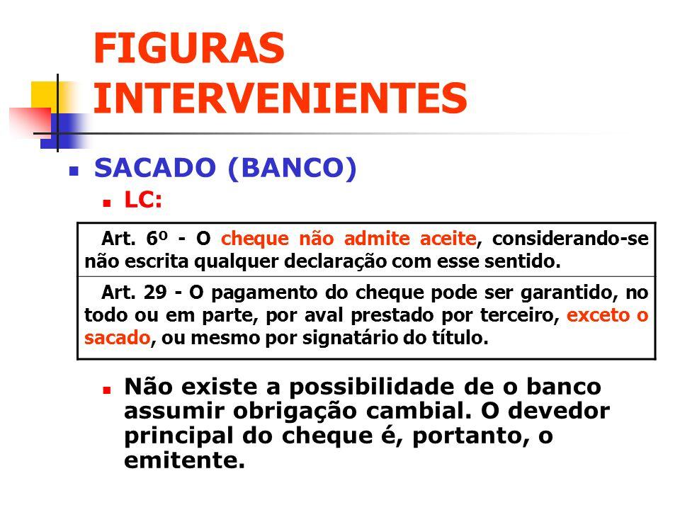 FIGURAS INTERVENIENTES SACADO (BANCO) LC: Não existe a possibilidade de o banco assumir obrigação cambial. O devedor principal do cheque é, portanto,