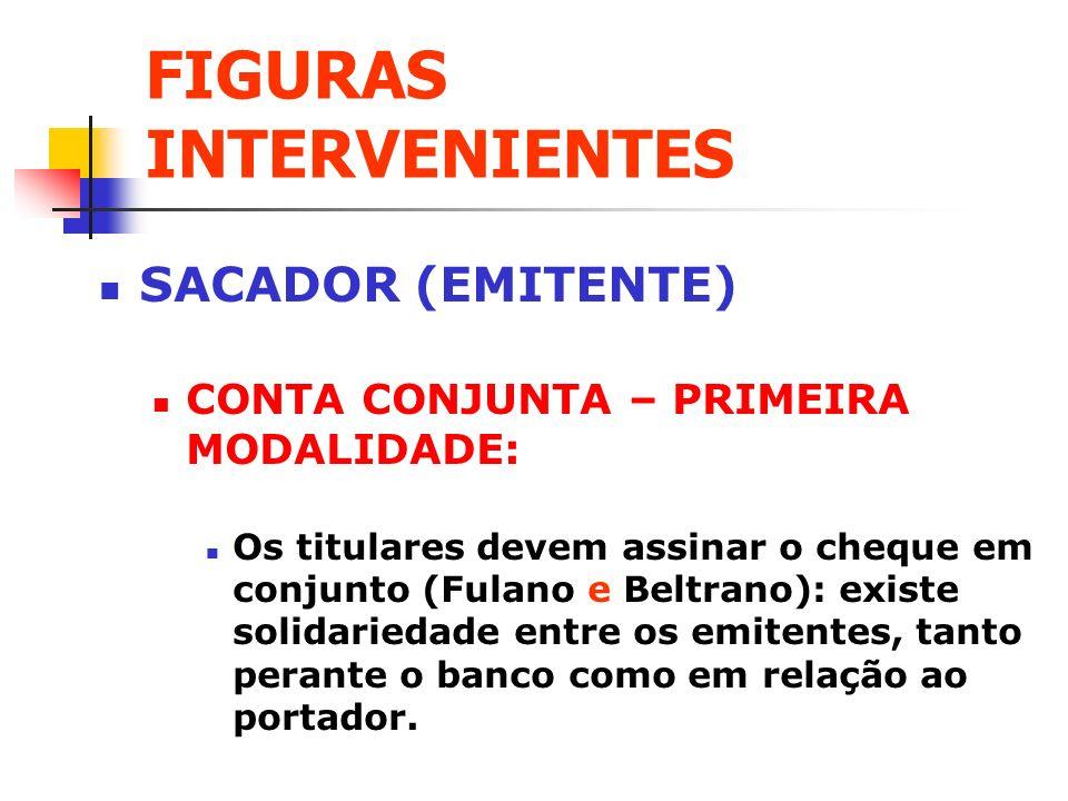 FIGURAS INTERVENIENTES SACADOR (EMITENTE) CONTA CONJUNTA – PRIMEIRA MODALIDADE: Os titulares devem assinar o cheque em conjunto (Fulano e Beltrano): e
