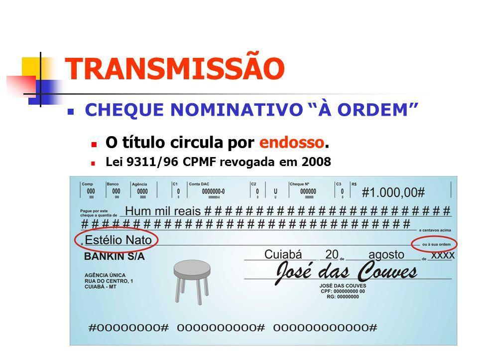 TRANSMISSÃO CHEQUE NOMINATIVO À ORDEM O título circula por endosso. Lei 9311/96 CPMF revogada em 2008