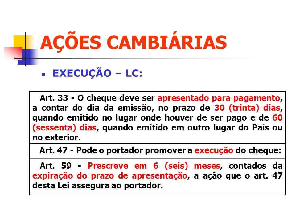 AÇÕES CAMBIÁRIAS EXECUÇÃO – LC: Art. 33 - O cheque deve ser apresentado para pagamento, a contar do dia da emissão, no prazo de 30 (trinta) dias, quan
