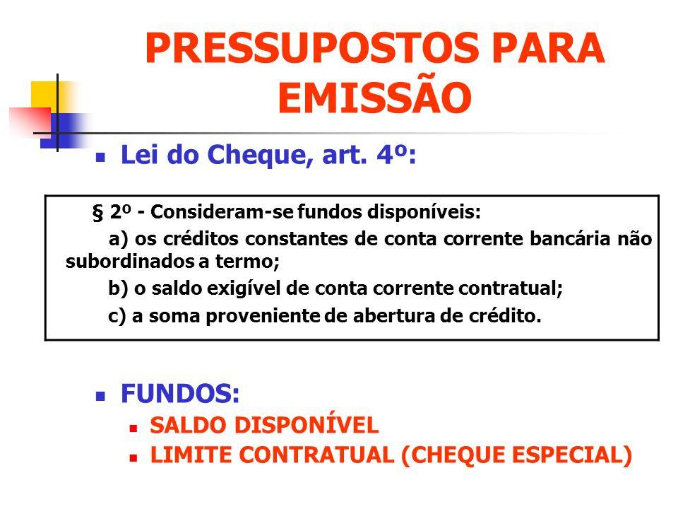 PRESSUPOSTOS PARA EMISSÃO Lei do Cheque, art. 4º: FUNDOS: SALDO DISPONÍVEL LIMITE CONTRATUAL (CHEQUE ESPECIAL) § 2º - Consideram-se fundos disponíveis
