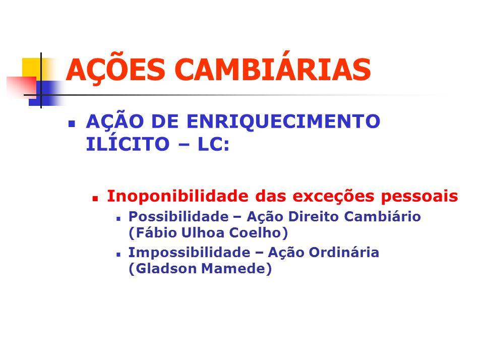 AÇÕES CAMBIÁRIAS AÇÃO DE ENRIQUECIMENTO ILÍCITO – LC: Inoponibilidade das exceções pessoais Possibilidade – Ação Direito Cambiário (Fábio Ulhoa Coelho
