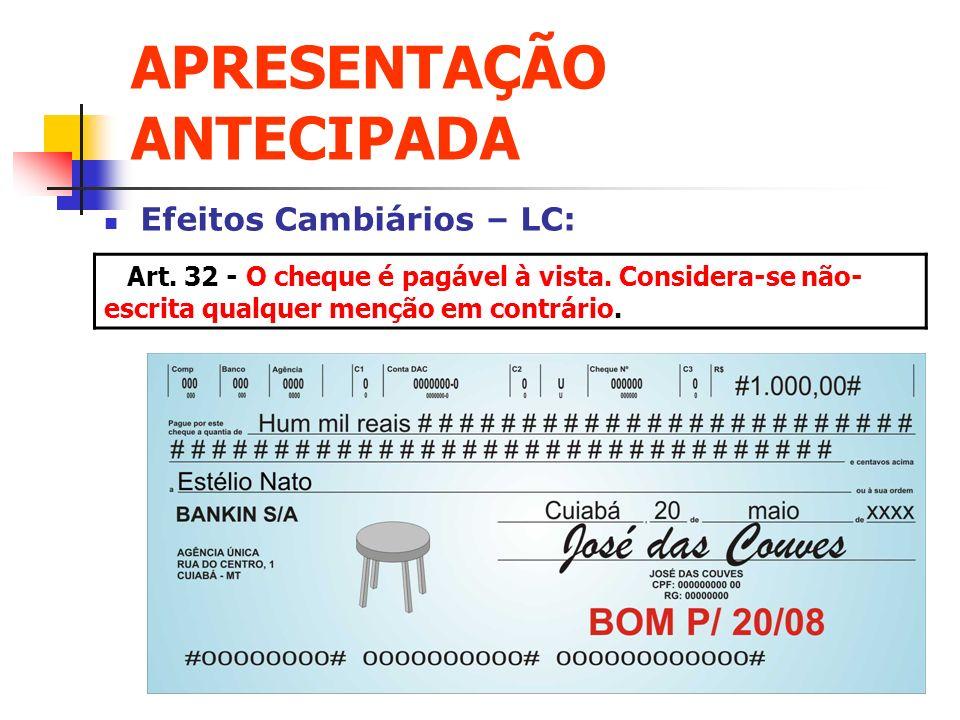 APRESENTAÇÃO ANTECIPADA Efeitos Cambiários – LC: Art. 32 - O cheque é pagável à vista. Considera-se não- escrita qualquer menção em contrário.