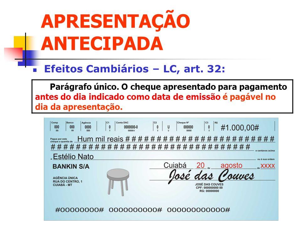 APRESENTAÇÃO ANTECIPADA Efeitos Cambiários – LC, art. 32: Parágrafo único. O cheque apresentado para pagamento antes do dia indicado como data de emis