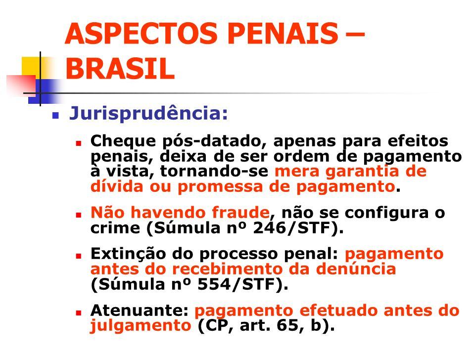 ASPECTOS PENAIS – BRASIL Jurisprudência: Cheque pós-datado, apenas para efeitos penais, deixa de ser ordem de pagamento à vista, tornando-se mera gara