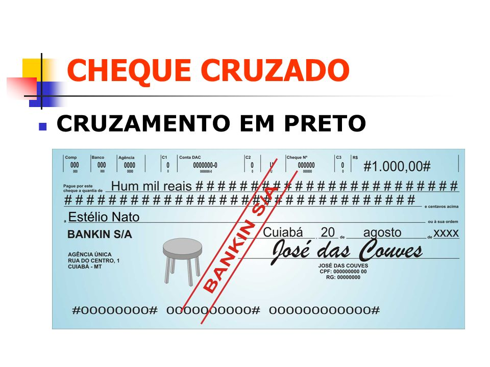 CHEQUE CRUZADO CRUZAMENTO EM PRETO