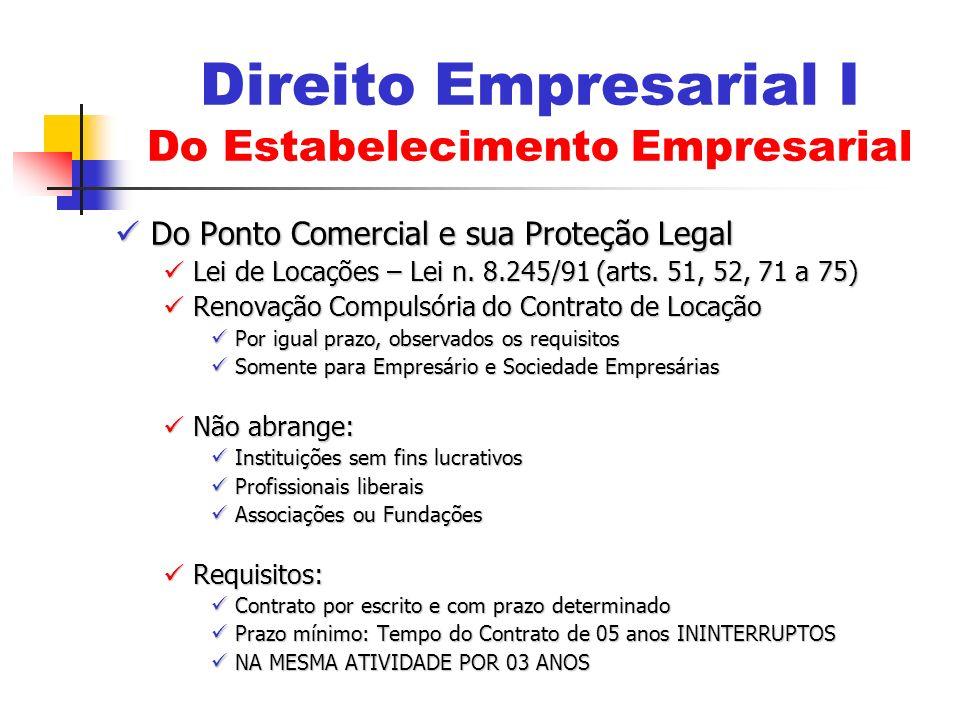 Do Ponto Comercial e sua Proteção Legal Do Ponto Comercial e sua Proteção Legal Lei de Locações – Lei n. 8.245/91 (arts. 51, 52, 71 a 75) Lei de Locaç
