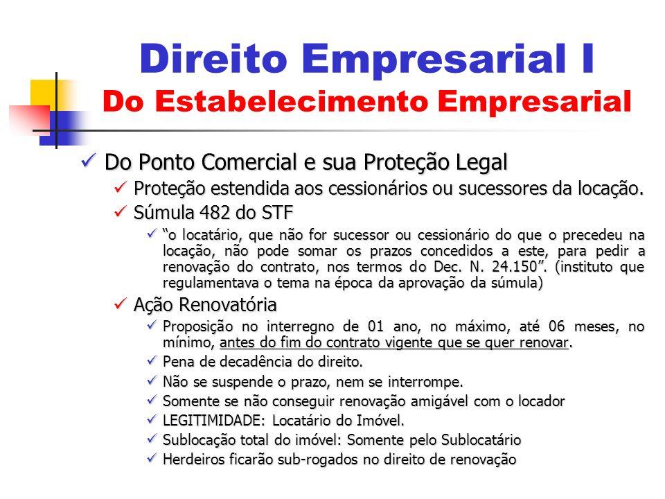 Do Ponto Comercial e sua Proteção Legal Do Ponto Comercial e sua Proteção Legal Proteção estendida aos cessionários ou sucessores da locação. Proteção