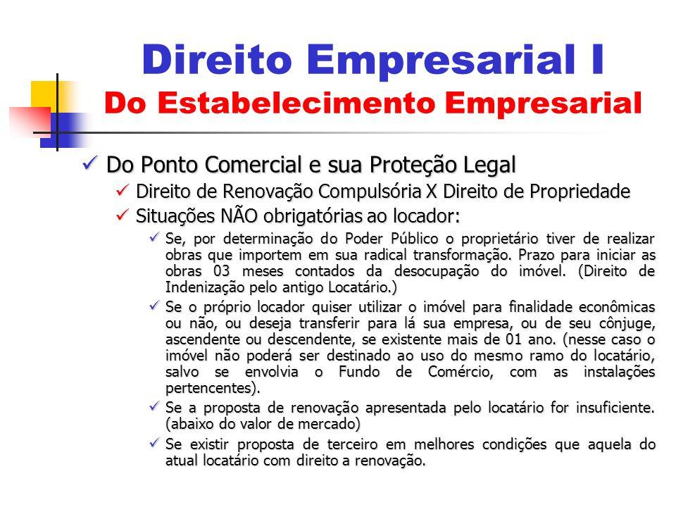 Do Ponto Comercial e sua Proteção Legal Do Ponto Comercial e sua Proteção Legal Direito de Renovação Compulsória X Direito de Propriedade Direito de R