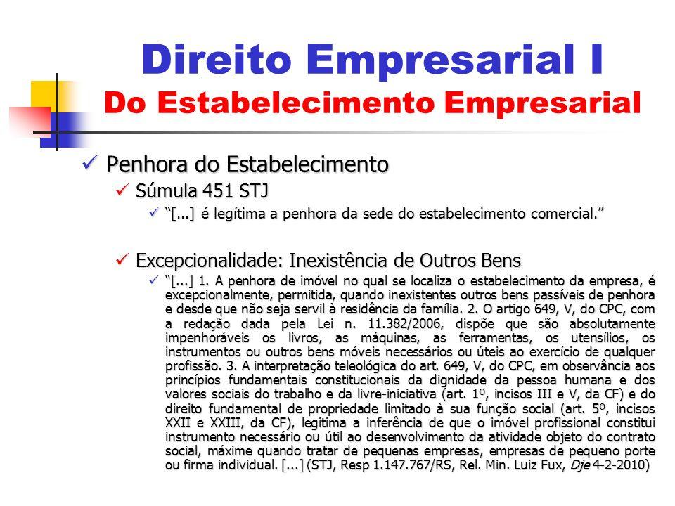 Penhora do Estabelecimento Penhora do Estabelecimento Súmula 451 STJ Súmula 451 STJ [...] é legítima a penhora da sede do estabelecimento comercial. [