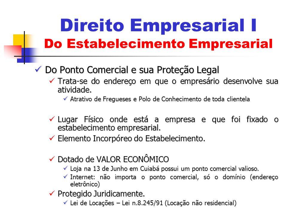 Do Ponto Comercial e sua Proteção Legal Do Ponto Comercial e sua Proteção Legal Trata-se do endereço em que o empresário desenvolve sua atividade. Tra