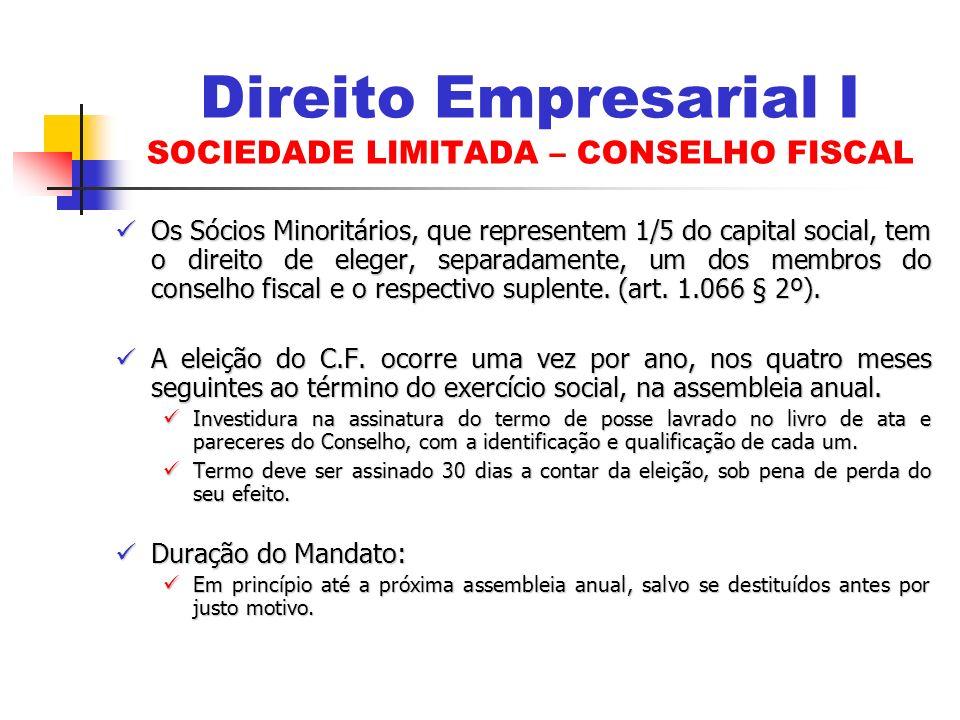 Os Sócios Minoritários, que representem 1/5 do capital social, tem o direito de eleger, separadamente, um dos membros do conselho fiscal e o respectiv