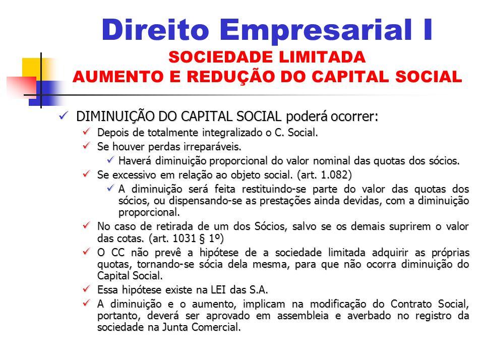 DIMINUIÇÃO DO CAPITAL SOCIAL poderá ocorrer: DIMINUIÇÃO DO CAPITAL SOCIAL poderá ocorrer: Depois de totalmente integralizado o C.